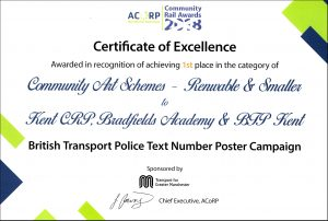 First Place Certificate Community Rail Awards 2018