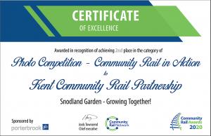 Second Place Community Rail Award Certificate 2020